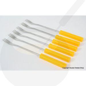 Käsefondue - Gabeln - Käse - Kunststoffgriff gelb, 6Stk.