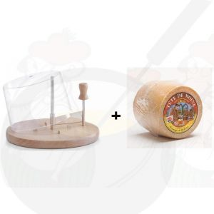 Käse Schneider mit Haube | Buchenholz + Tete de Moine käse +/- 850 Gramm