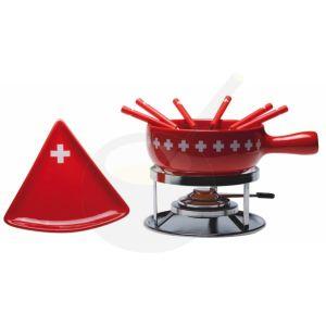 Käsefondue-Set Swiss Cross mit Dreieck Tellern