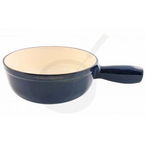 Käsefonduetopf Blau aus emailliertem Gusseisen einzeln