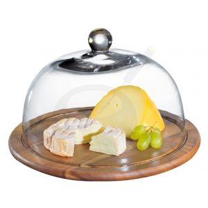 Käseglocke mit Glasdeckel, akazie Ø 30 cm